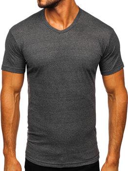 Antracitové pánské tričko bez potisku s výstřihem do V Bolf 192131