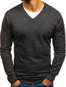 Antracitový pánský svetr s výstřihem do V Bolf 1820