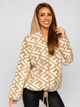 Béžová dámská přechodová bunda s kapucí Bolf 20670