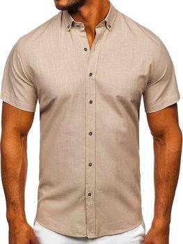 Béžová pánská košile s krátkým rukávem Bolf 20501