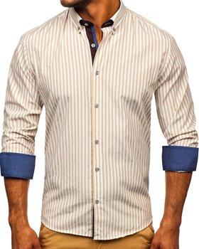 Béžová pánská pruhovaná košile s dlouhým rukávem Bolf 20704