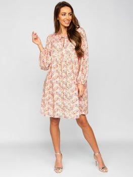 Béžové dámské květinové šaty Bolf 3019