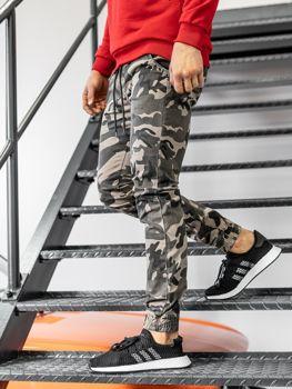 Béžové pánské maskáčové jogger kalhoty Bolf KA351