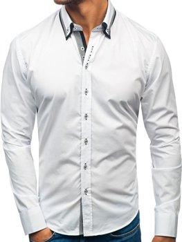 Bílá pánská elegantní košile s dlouhým rukávem Bolf 3704-1 ad782e801f