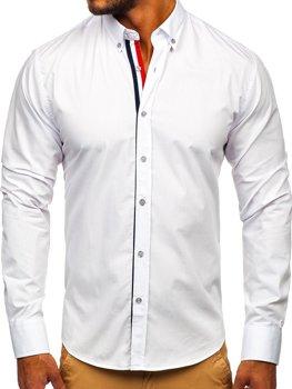 Bílá pánská elegantní košile s dlouhým rukávem Bolf 3713