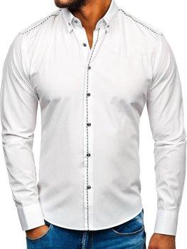 Bílá pánská elegantní košile s dlouhým rukávem Bolf 6920