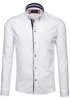 Bílá pánská elegantní košile s dlouhým rukávem Bolf 6948