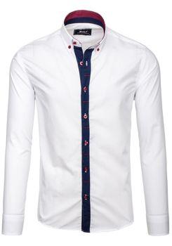 Bílá pánská elegantní košile s dlouhým rukávem Bolf 6951