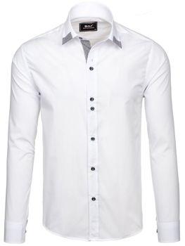 Bílá pánská elegantní košile s dlouhým rukávem Bolf 6952