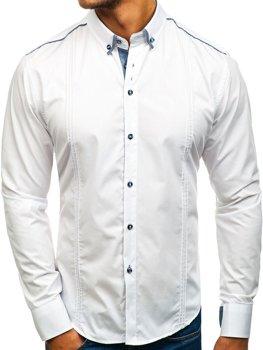 Bílá pánská elegantní košile s dlouhým rukávem Bolf 8821