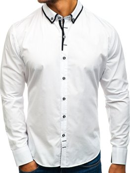 Bílá pánská elegantní košile s dlouhým rukávem Bolf 8824