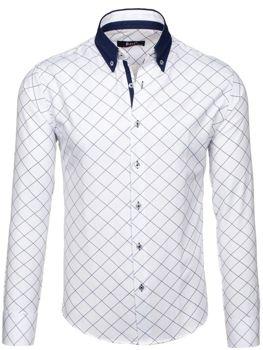 Bílá pánská kostkovaná košile s dlouhým rukávem Bolf 7702