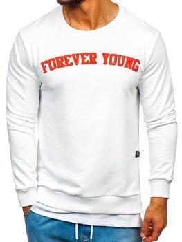 Bílá pánská mikina bez kapuce s potiskem FOREVER YOUNG Bolf 11116