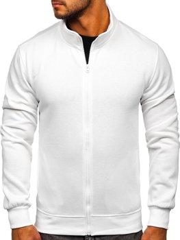 Bílá pánská mikina na zip bez kapuce Bolf B2002