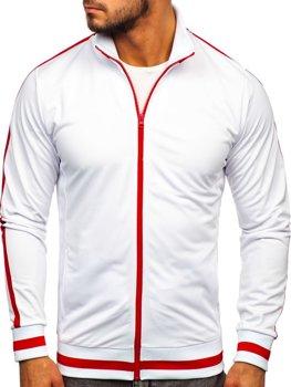 Bílá pánská mikina na zip bez kapuce retro style Bolf 2126