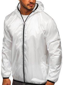 Bílá pánská přechodová bunda s kapucí větrovka Bolf 5060