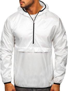 Bílá pánská přechodová sportovní bunda s kapucí Bolf 5061