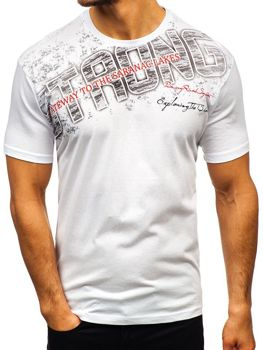 Bílé pánské tričko s potiskem Bolf 14234