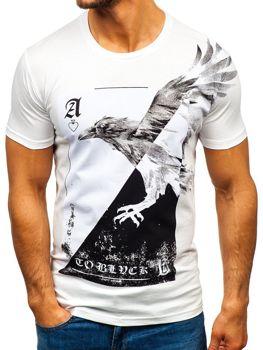 Bílé pánské tričko s potiskem Bolf 181210