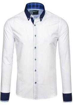 Bílo-tmavě modrá pánská elegantní košile s dlouhým rukávem Bolf 5766