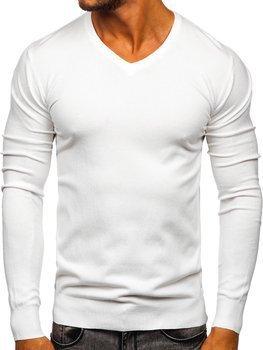 Bíly pánsky svetr s vyst?ihem do V Bolf YY03