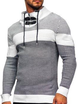 Bílý silný pánský svetr s vysokým límcem Bolf 1035