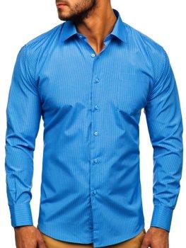 Blankytná pánská elegantní proužkovaná košile s dlouhým rukávem Bolf NDT10