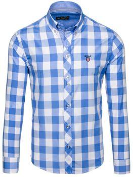 Blankytná pánská kostkovaná košile s dlouhým rukávem Bolf 6888