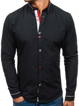 Černá pánská elegantní košile s dlouhým rukávem Bolf 5870