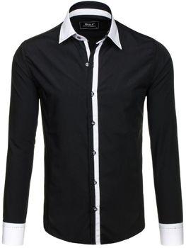 Černá pánská elegantní košile s dlouhým rukávem Bolf 6957