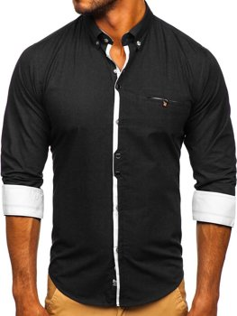 Černá pánská elegantní košile s dlouhým rukávem Bolf 7720