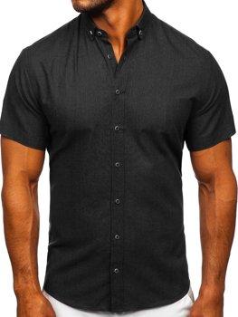 Černá pánská košile s krátkým rukávem Bolf 20501