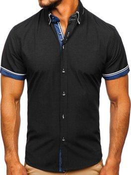 Černá pánská košile s krátkým rukávem Bolf 2911-1