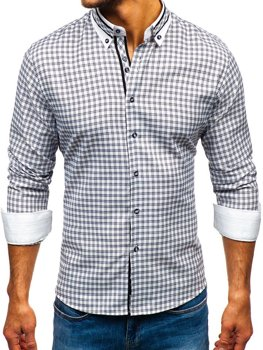 Černá pánská kostkovaná košile s dlouhým rukávem Bolf 8808