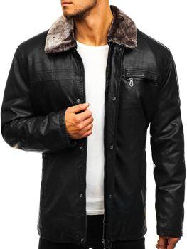Černá pánská kožená bunda z ekokůže Bolf 293