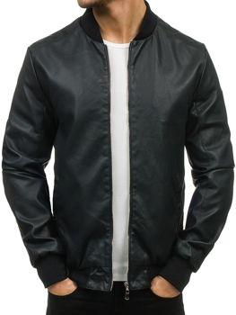 Černá pánská kožená bunda z ekokůže Bolf 3309
