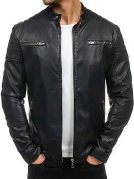 Černá pánská kožená bunda z ekokůže Bolf EX388