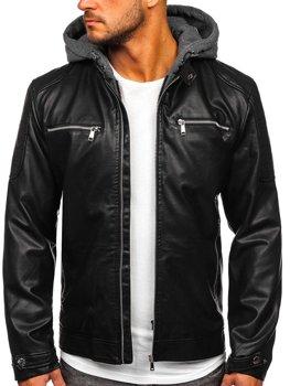 Černá pánská koženková bunda s kapucí Bolf 1148