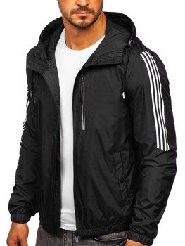 Černá pánská přechodová sportovní bunda s kapucí Bolf 6172