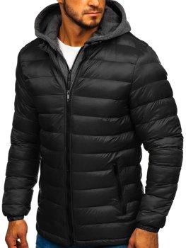 Černá pánská prošívaná sportovní zimní bunda Bolf JP1102