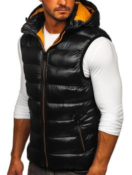 Černá pánská prošívaná vesta s kapucí Bolf 6506