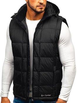 Černá pánská prošívaná vesta s kapucí Bolf A5502