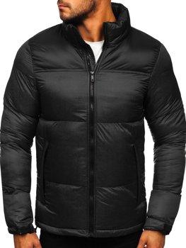 Černá pánská prošívaná zimní bunda Bolf 1186