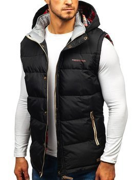 Černá pánská vesta s kapucí Bolf BK142