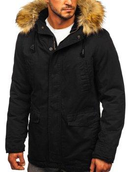 Černá pánská zimní/jarní bunda 2v1 parka Bolf 5284