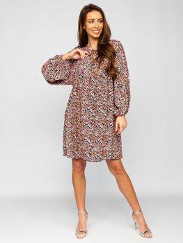 Černé dámské květinové šaty Bolf 3019