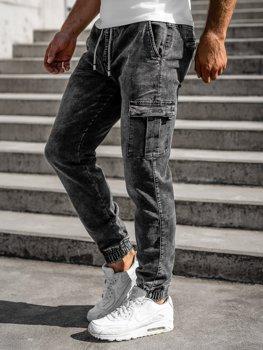 Černé pánské džínové jogger kahoty Bolf KA1316-1
