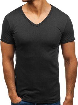 Černé pánské tričko bez potisku s výstřihem do V Bolf 1002