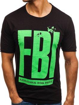 Černé pánské tričko s potiskem Bolf 6295