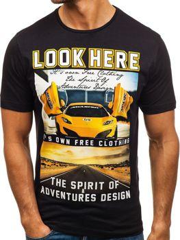 Černé pánské tričko s potiskem Bolf 6296